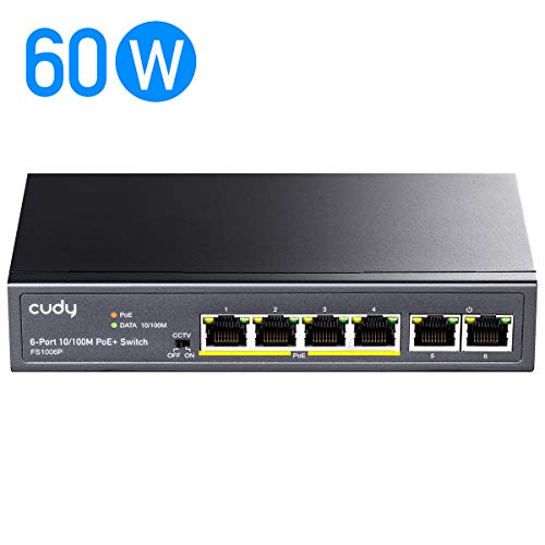 Cudy 6-Port 10/100 Mbit/s Ethernet PoE+ Unmanaged Plug-and-Play Switch, 48V, 60 Watt, 4 Po