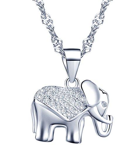 Infinite U - Colgante para collar para mujer (plata de ley y circonios cúbicos), diseño de elefante