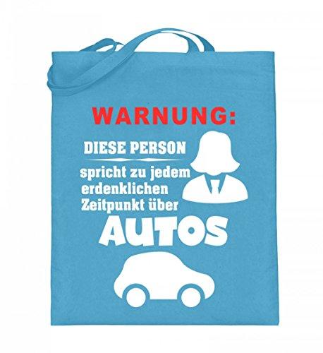 Hochwertiger Jutebeutel (mit langen Henkeln) - Warnung: Person sprich über Autos Hellblau