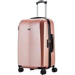 "100% Polycarbonat Abistab® Kaiseki Premium Hartschalen Koffer L-71cm(28"") Rosegold aus PC Kratzfest Trolley Suitcase Reisekoffer 4 Doppelräder, TSA Schloss"