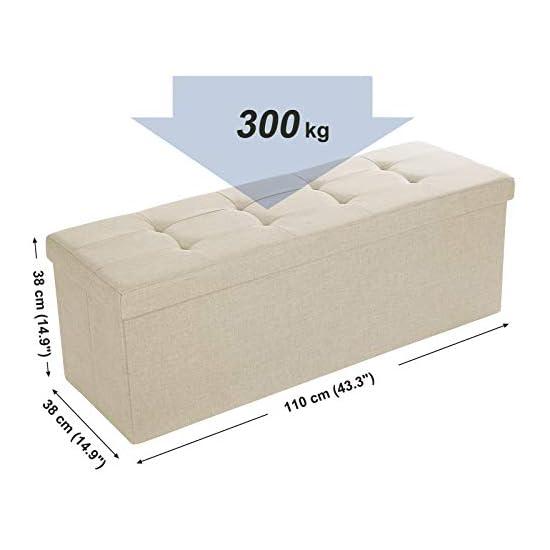 SONGMICS Sitzbank Sitztruhe max. statische Belastbarkeit 300 kg mit Stützrahmen aus Metall 120 L beige 110 x 38 x 38 cm LSF77BE