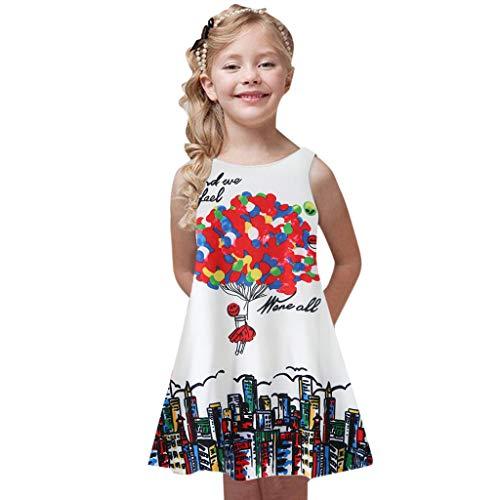 rjungfrau Blumen Karikatur Prinzessin Skaterkleid ärmellos A-Linie Sommerkleid Swing Fattern T-Shirt Kleider Rundhals Freizeitkleidung 3-10 Jahre ()