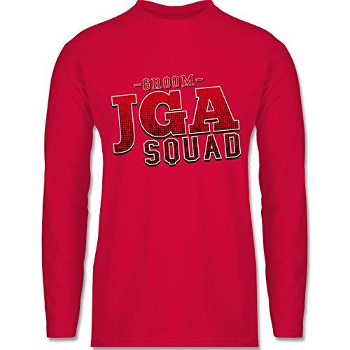 Shirtracer JGA Junggesellenabschied - JGA Squad Groom - Herren Langarmshirt Rot