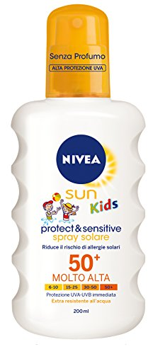 Nivea sun kids protect & sentitive spray solare fp50+ per bambini, protezione molto alta, 200 ml