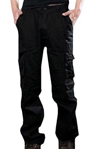 CuteRose Men Large Size Camo Multi-Pockets Chunky Slouchy Cargo Pants Black 35 -