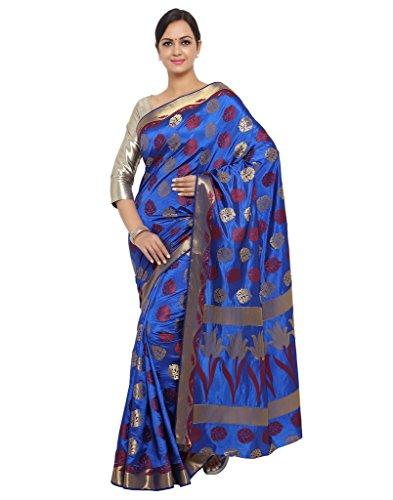 Varkala Silk Sarees Women's Art Silk Banarasi Saree With Blouse Piece(ND1100RB_Blue_Free Size)
