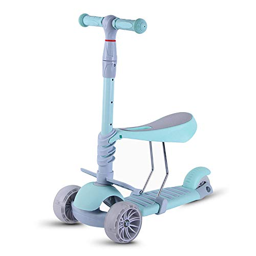 Roller/Für Kinder Kleinkinder 3-in-1 Roller/Verstellbar 3 Räder Tretroller Mit Abnehmbarem & Verstellbarem Sitz/LED-Licht Räder Für Jungen Mädchen Alter 2-6 / Unterstützung 110Lbs,Green -