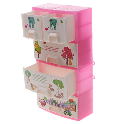 Baoblae Mini Pink Drawer Wardrobe Bedroom Furniture Accessory for Barbie Dolls  available at amazon for Rs.345