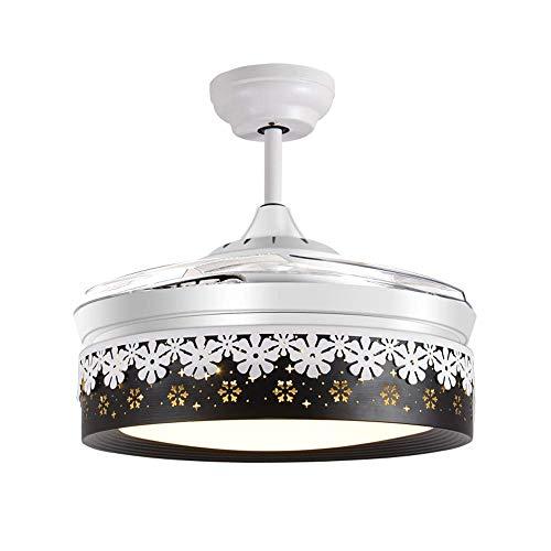 YZPFSD Einfache Kronleuchter Deckenventilator mit Licht, Huston Fan LED Remote Kronleuchter Lüfter mit einziehbarer Klinge Deckenventilator Licht for Innen, 42 Zoll Schwarz-Weiß (Size : 42inch)