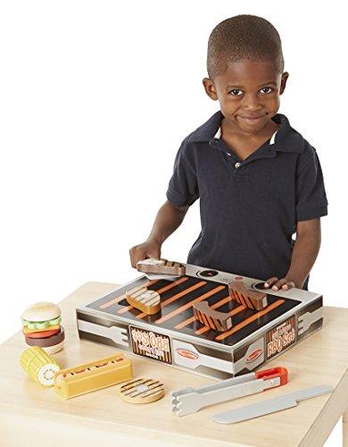 41KGVAzHp6L - Melissa & Doug BBQ-Set aus Holz zum Grillen & Servieren (Spielzeuglebensmittel aus Holz, 20 Teile)