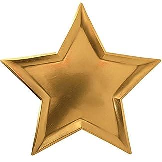 Rycnet – Plato de papel desechable (8 unidades), diseño de estrellas, color dorado azul