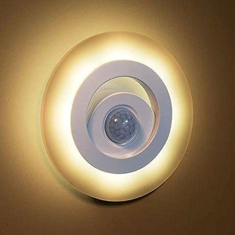 Batteriebetrieb LED Warmweiß Nachtlicht MUYBIEN Energiesparende Nachtleuchtung 150 Lumen 2700K-3000K mit Bewegungsmelder für Schlafzimmer,Keller, Kinderzimmer und Flur