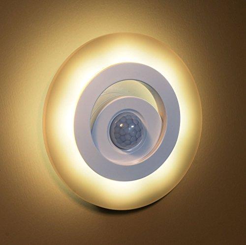Batteriebetrieb LED Warmweiß Nachtlicht MUYBIEN Energiesparende Nachtleuchtung 150 Lumen 2700K-3000K mit Bewegungsmelder für Schlafzimmer,Keller, Kinderzimmer und Flur (Kitty Hello Lampen Schlafzimmer Für)