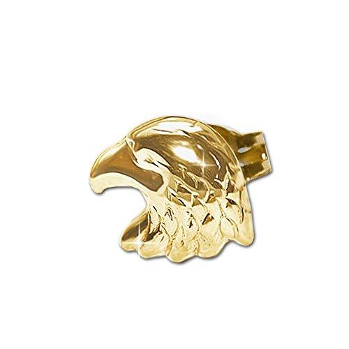 CLEVER SCHMUCK Goldener einzelner Single Ohrstecker Adler als Adlerkopf 8 x 6 mm glänzend 333 GOLD 8 KARAT (1 Stück) -