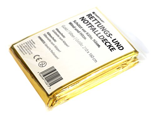 Happyplast 10 x Rettungsdecke, Rettungsfolie, Notfalldecke, Gold/Silber, 210 x 160 cm