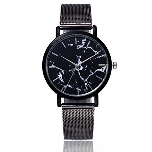 Montres, Malloom Hommes Luxe Inoxydable Quartz en acier Militaire Sport Acier inoxydable Montre bracelet à bandes (Noir)