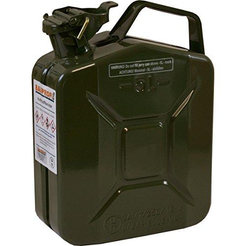 5 Liter Benzinkanister Metall GGVS mit Sicherungsstift oliv Armee Stahlblech