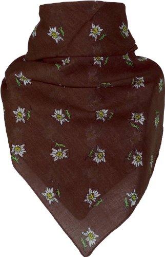 Bandana mit Edelweiss in 15 Farben aus Baumwolle, Farben:dunkelbraun, Größen:Einheitsgröße