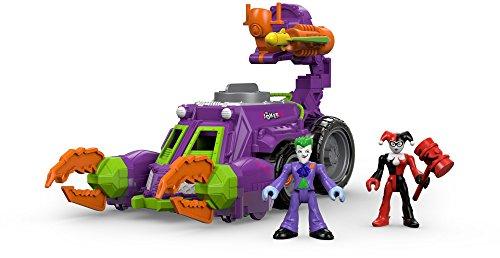 Imaginext DWV56Spielzeugset, DC-Super-Friends, Der Joker und Harley Quinn, mit Kampf-Fahrzeug