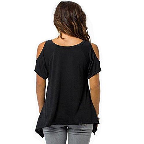 Eaee Damen Schulterfrei Oberteil Loose Kurzarm Hemd Top Off Shoulder Tunika T-shirt Kaffee