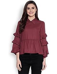 Abiti Bella Women's Burgundy Ruffle Solid Woven Shirt Collar Top