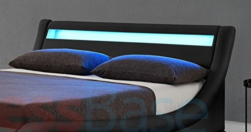 New Exclusive Rio LED Black Designer Curved Ottoman Gas Lift Storage Bed