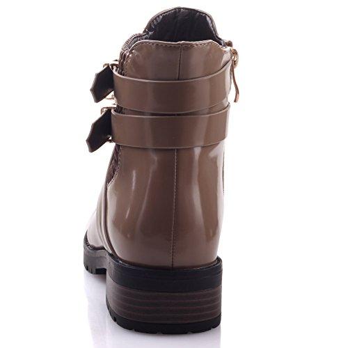 Unze Für Frauen Hoorie 'Buckled Adorned Herbst Winter Schuhe Stiefel - 1814-V19 Beige
