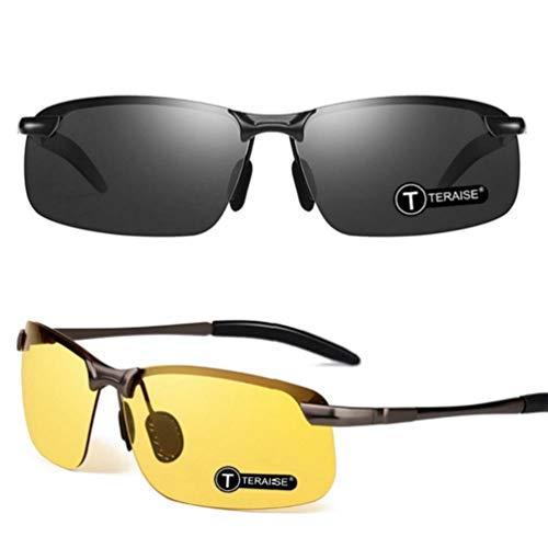 TERAISE 2er-Pack Driving Polarized Sonnenbrille + Nachtsichtbrille UV400-Sonnenbrille im klassischen Stil mit HD-Blendschutz zum Fahren und Angeln im Freien