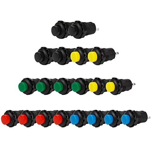Larcele 20x 12mm Plastik DIY Momentary Push Button Metall Mini Drücken Taster Druckknöpfe ANKG-03 (5 Farben) -