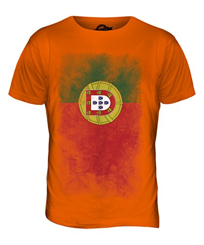 CandyMix Portugal Verblichen Flagge Herren T Shirt Orange
