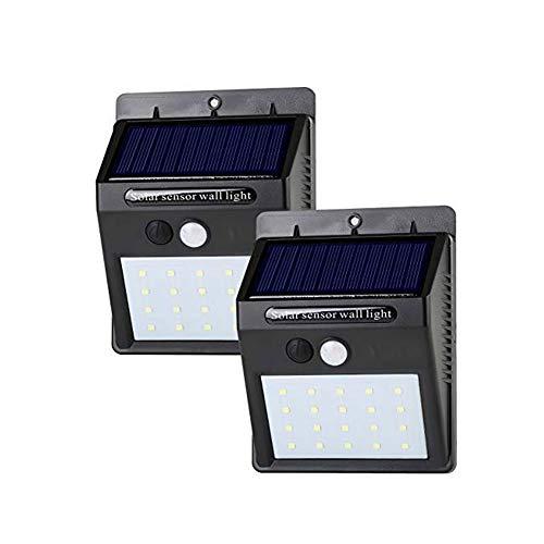 Outdoor-Bewegungsmelder Solar Light Wetterfest mit automatischer Ein/ Ausschaltung von Dämmerung bis Morgendämmerung, ideal zum Beleuchten der Veranda, der Haustür, des Hofs und des Decks im 2er-Pack
