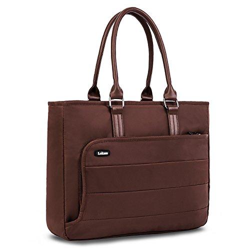 LOKASS Damen Laptoptasche Notebooktasche Laptop Schultertasche Business Aktentasche Tote Bag für Frauen, Wasserdichte Nylon Umhängetasche Handtasche für 15,6 Zoll Laptop/MacBook (Braun)