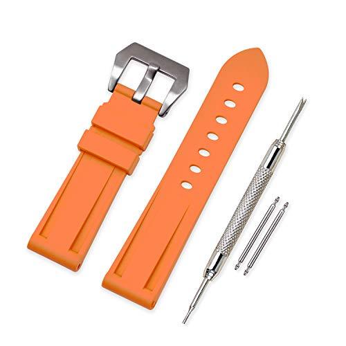 VINBAND Unisex Wasserfest Gummi Uhrenarmband Gebürstete Edelstahl Silber Schnalle kompatibel mit Panerai 22mm Orange