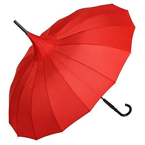 VON LILIENFELD Regenschirm Damen Sonnenschirm Pagode Charlotte rot