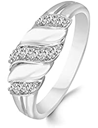 Classic Glittering Charm Diamond Studded Rhodium Plated Alloy & Brass Cz American Diamond Finger Ring For Women...