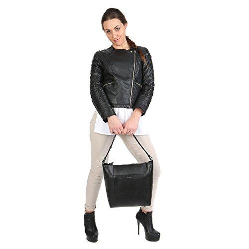 Trussardi Sac bandoulire femme avec bretelles, véritable cuir de veau Fabriqué en Italie 32x31x13 Cm Mod. 76B139SM Noir