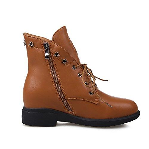 AllhqFashion Damen Reißverschluss Niedriger Absatz PU Leder Metall Nägel Stiefel, Aprikosen Farbe, 34