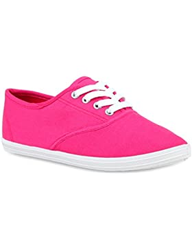 Damen Sneakers Stoff | Sneaker Low Muster | Basic Schuhe Animal Print | Freizeit Turnschuhe Schnürer | Flandell®