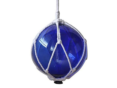 Handcrafted Decor 8 Blue Glass New Blue Japanese Glass Ball Fishing Float With White Netting Decoration, 8 In.