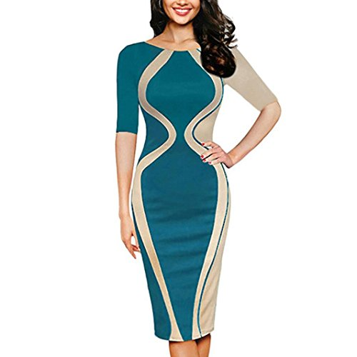 ZIYOU Kleid Damen/Slim fit Bodycon Abendkleid, Frauen Kurzarm Partykleid Cocktailkleid Elegant Festkleid Bleistift Minikleid (Grün, ()