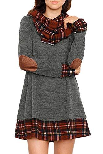 Ancapelion Damen Langarm Minikleid Kariertes Kleid Rollkragen Strickkleid A-Linie Sweater Herbstkleid Lose Kleider Pullover Kleid für Winter Herbst, Grau, Gr. L(EU 40-42)
