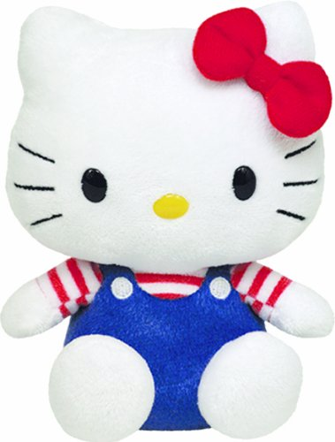 Hello Kitty - Blue Overalls Plush - Ty Beanie - 14cm 6""