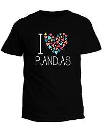 Idakoos I love Pandas colorful hearts - Tiere - T-Shirt