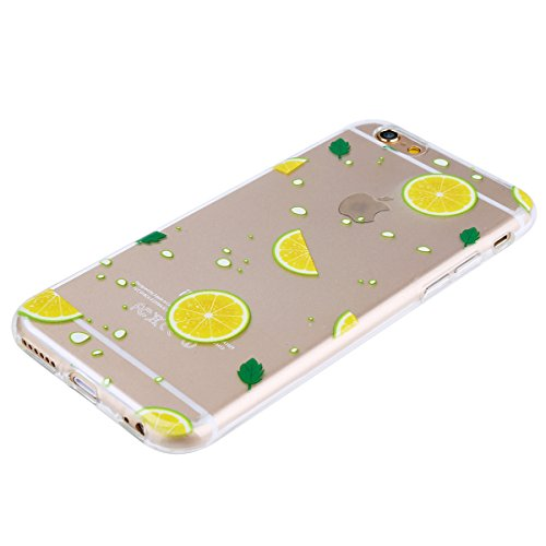Custodia iPhone 6 Plus, iPhone 6S Plus Cover Silicone Trasparente, SainCat Cover per iPhone 6/6S Plus Custodia Silicone Morbido, Shock-Absorption Custodia Ultra Slim Transparent Silicone Case Ultra So Limone Verde