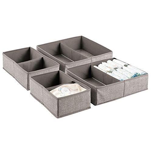 MetroDecor mDesign 4er-Set Baby Organizer – Aufbewahrungsbox mit je 2 Fächern für Windeln, Feuchttücher etc. – ideal zur Spielzeug Aufbewahrung – beige