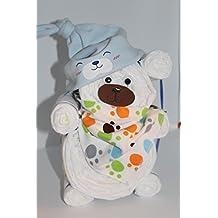 Windeltorte / Windelgeschenk / Windelbär mit Beanie + Dreieckstuch Junge Baby -> Niedliche Baby Kleinkind Kinder Cartoon drucken Hut Kappe Mütze + Schal Warp Set für 0-2 Jahre