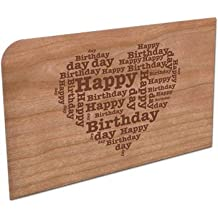 "Grußkarte aus Holz ""Happy Birthday"" in Herzform"