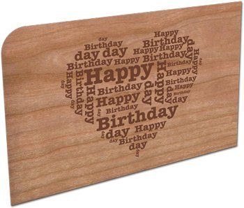 """Grußkarte aus Holz """"Happy Birthday"""" in Herzform"""