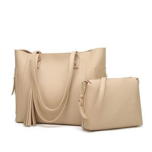 Damen Tasche Tote PU-Einkaufstasche Schulter Umhängetasche Quaste Handtasche 2 Stück Set Weiß Handtasche Damen Reise Leder Handtasche Damen-Umhängetaschen für Büro Schule Einkauf -