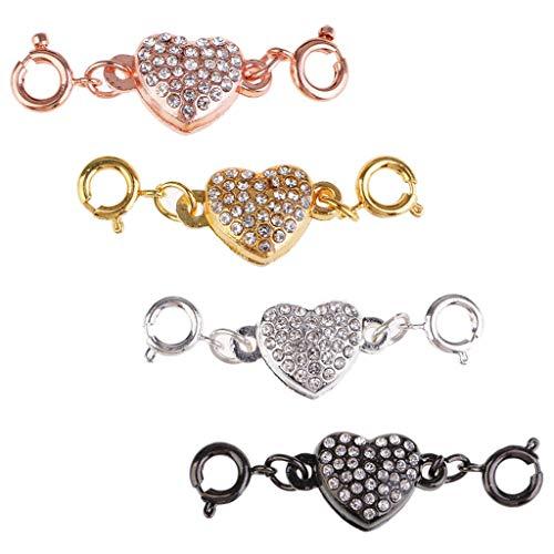 IPOTCH 4 Sets Cierres Magnéticos de Latón con Diamantes de Imitación y Formas de Corazón Divertidos y Atractivos